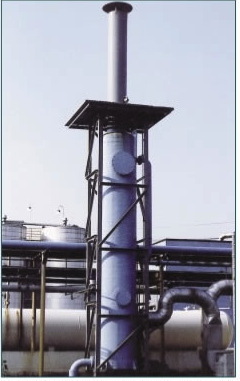 Union Camp Clean Air Group designed packed tower scrubber for ammonia removal efficiency